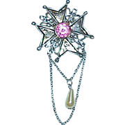 Maltese Cross Guilloche Enamel Rhinestone Brooch