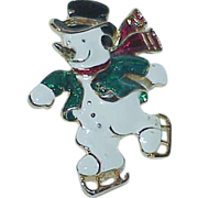Heated Enamel Frosty the Snowman Brooch
