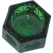 Hexagon Green Glass Salt Cellar