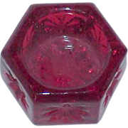 Hexagon Red Glass Salt Cellar