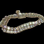Vintage WEISS Aurora Borealis Two Row Rhinestone Bracelet