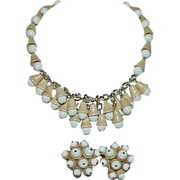 Vintage WEST GERMANY Signed White and Tan Acorn Necklace and Earrings Set - Demi Parure