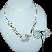 Vintage CORO Moon Glow Rhinestone Enamel Flower Necklace with Earrings - Demi Parure