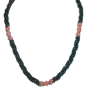 Black and Coral Colored Bead Torsade Necklace