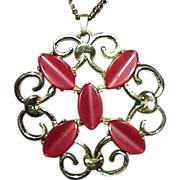 Vintage Red Thermoset Medallion Pendant on Chain