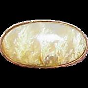 Antique Dendritic Agate 14k Gold Collar Brooch