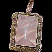 Art Deco Sterling Pink Rose Quartz Pendant Necklace