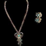 Vintage B&N Blue Rhinestone Pendant/Brooch and Earring Set
