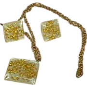 Lucite Gold Foil Confetti Pendant Necklace with Earrings