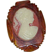 Vintage Art Deco Celluloid Tortoise Shell Cameo Brooch