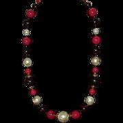 Vintage Autumn Colors Acrylic Bead Faux Pearl Necklace
