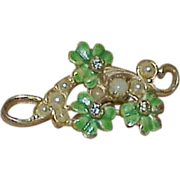 Vintage 3-Leaf Clover, Glass Pearl, Rhinestone Brooch