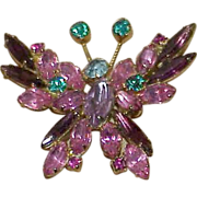 Delizza and Elster Rhinestone Butterfly Brooch