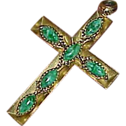 Vintage Gold Tone Metal Cross with Green Mottled Art Glass Stones Pendant