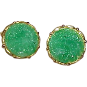 Vintage Carved Celluloid Faux Green Jade Earrings