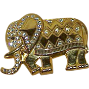 Vintage Repousse Style Golden Elephant with Crystal Rhinestones Brooch