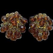 Vintage WESTERN GERMANY Amber Colored Trembler Bead Earrings