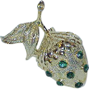 Vintage Rhinestone Acorn Brooch