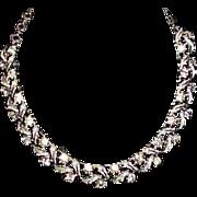 Vintage CORO Rhinestone Leaf Necklace
