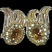 Vintage CORO Pat. Pend Rhinestone Earrings