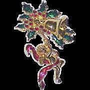 Vintage SMITHSONIAN Rhinestone Enamel Christmas Brooch