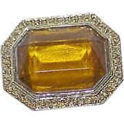Vintage Golden Yellow Glass Stone Collar Brooch