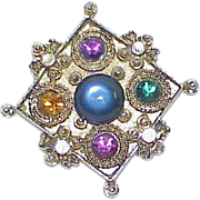 Vintage Colorful Glass Cabochon Stone Rhinestone Brooch