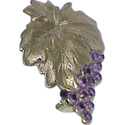 Vintage Grape Vine Rhinestone Brooch