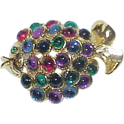 Vintage Cabochon Glass Bead Fish Brooch