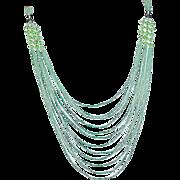 Art Deco Flapper Necklace Green Torsade