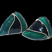 Vintage Heated Enamel Earrings