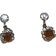 Vintage Rhinestone Ear Bobs Earrings