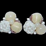 Vintage WESTERN GERMANY Clip On Large Bead Earrings