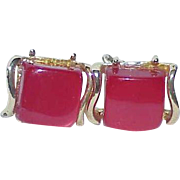 Vintage CORO Cherry Red Thermoset Earrings