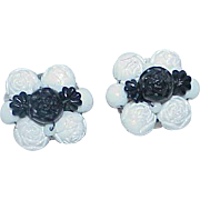 Vintage Black and White Carved Bead Button Style Earrings
