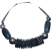 Vintage Chunky Clunky Wood Metal Necklace
