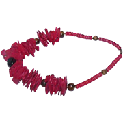 Vintage Chunky Clunky Red Plastic and Brown Wood Necklace