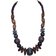 Vintage Chunky Clunky All Natural Wood Bead Necklace