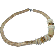 Vintage Natural Wood, Plastic and Metal Chunky Clunky Necklace