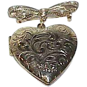 Vintage Locket Bow Dangle Brooch