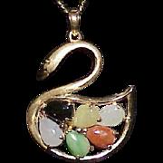 Vintage 14k Multi Colored Jade Swan Pendant