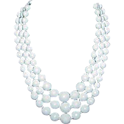 Vintage White Faceted Acrylic Bead 3-Strand Necklace