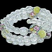 Vintage Coil Crystal Bead Venetian Glass Bead Bracelet