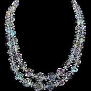 Vintage Rock Crystal Bead 2-Strand Necklace