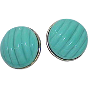 Vintage Signed VOGUE Faux Turquoise Lucite Button Earrings