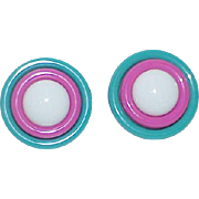 Vintage colorful Button Earrings