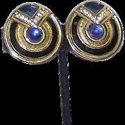 Vintage Enamel Cabochon Statement Earrings