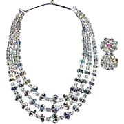 Vintage GERMANY Rock Crystal Triple Strand Necklace and Earrings-Demi Parure