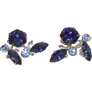Vintage Royal Blue Rhinestone Earrings