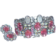 Vintage LA ROCO Pink Faceted Glass and Rhinestone Bracelet Earring Set-Demi Parure